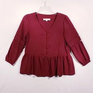 Loft maroon peplum blouse size small